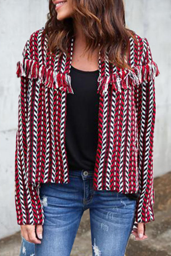 Tassels Long Sleeve Contracted Style Outerwear