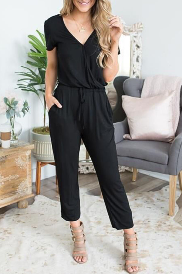 V Neck Solid Color Pocket Casual Jumpsuit
