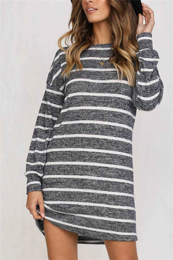 Stripe Print Long Sleeve Casual Dress