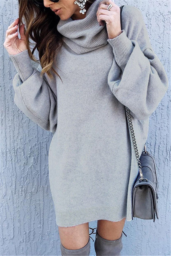 Cowl Neck Puffed Sleeve Sweater Dress