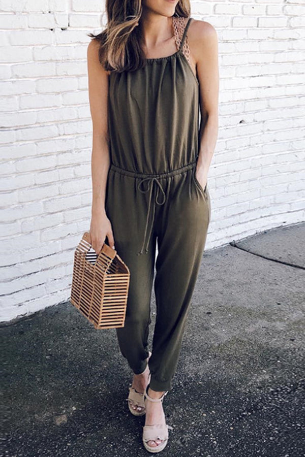 Sleeveless Solid Color Belted Pocket Jumpsuit