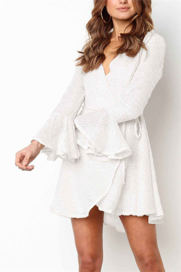 V Neck Flare Sleeve White Wrap Dress