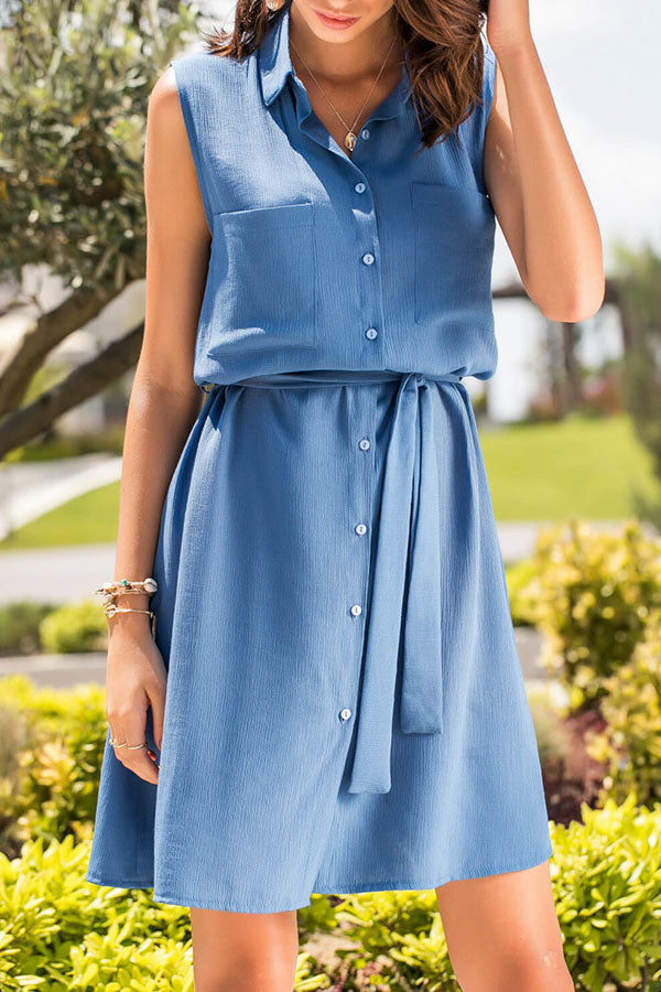 Sleeveless Pocket Button Belted Mini Dress