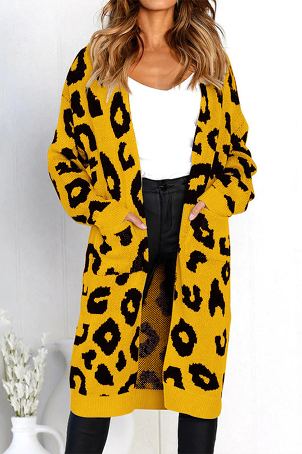 Leopard Print Long Sleeve Pocket Cardigan