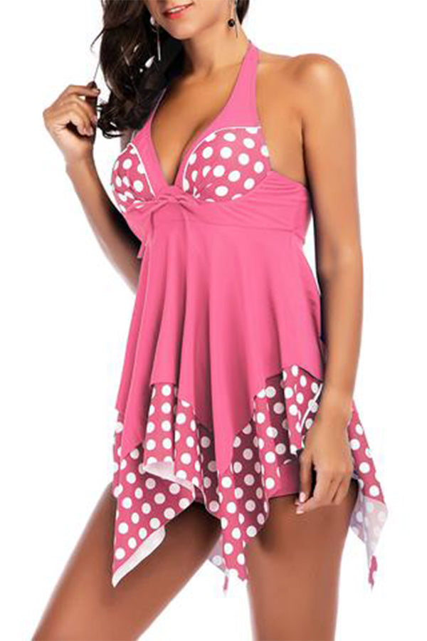 Polka Dot Solid Color Halter Irregular Hem Tankini