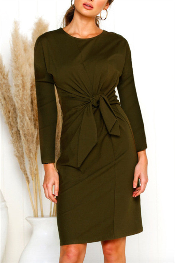 Tie Up Long Sleeve Solid Color Dress