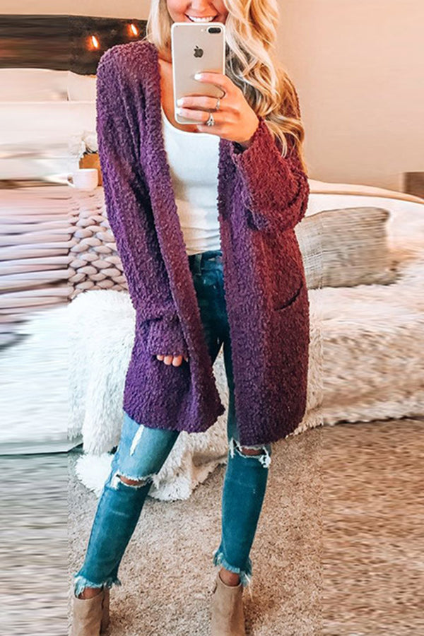 Solid Color Long Sleeve Pocket Cardigan