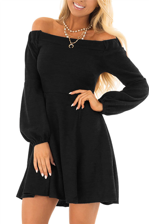 Off the Shoulder Long Sleeve Mini Dress