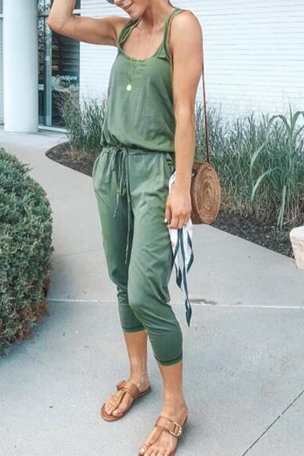 Sleeveless Solid Color Casual Pocket Jumpsuit