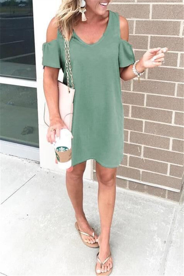 V Neck Cold Shoulder Solid Color Casual Dress