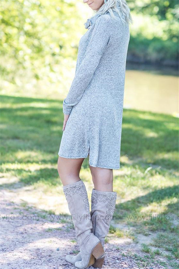 Cowl Neck Long Sleeve Casual Mini Dress