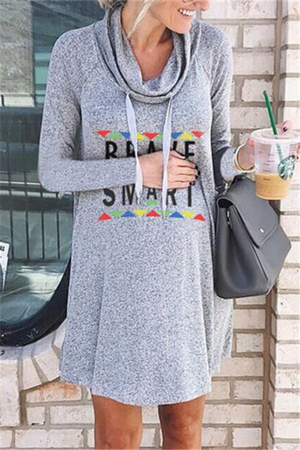 Letter Print Cowl Neck Casual Dress