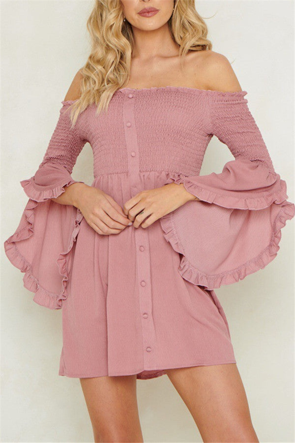 Off the Shoulder Flare Sleeve Mini Dress