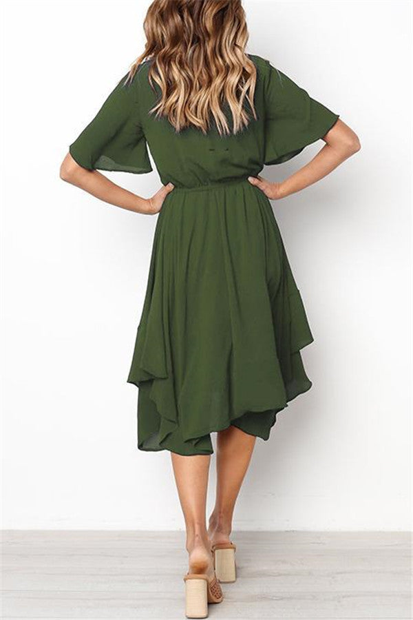 Round Neck Flared Sleeves Mid Calf Dress