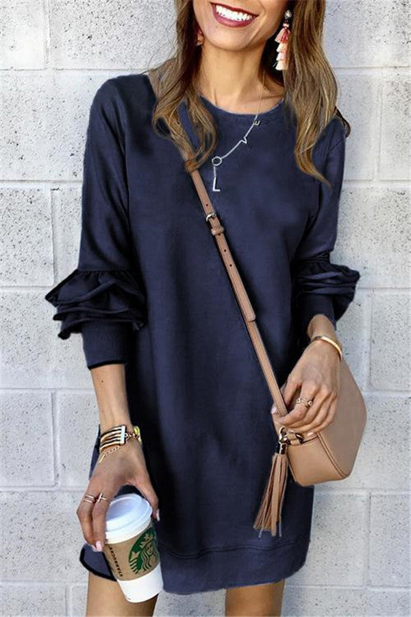Layered Ruffle Sleeve Round Neck Casual Dress