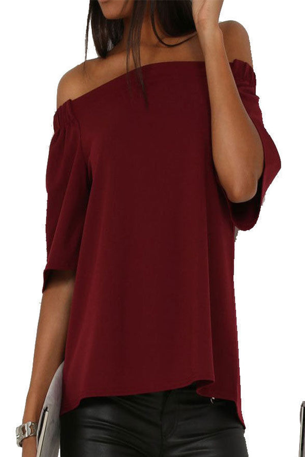 Solid Color Ruffle Slit Top