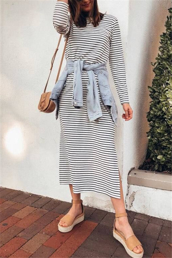 Stripe Print Long Sleeve Slit Dress