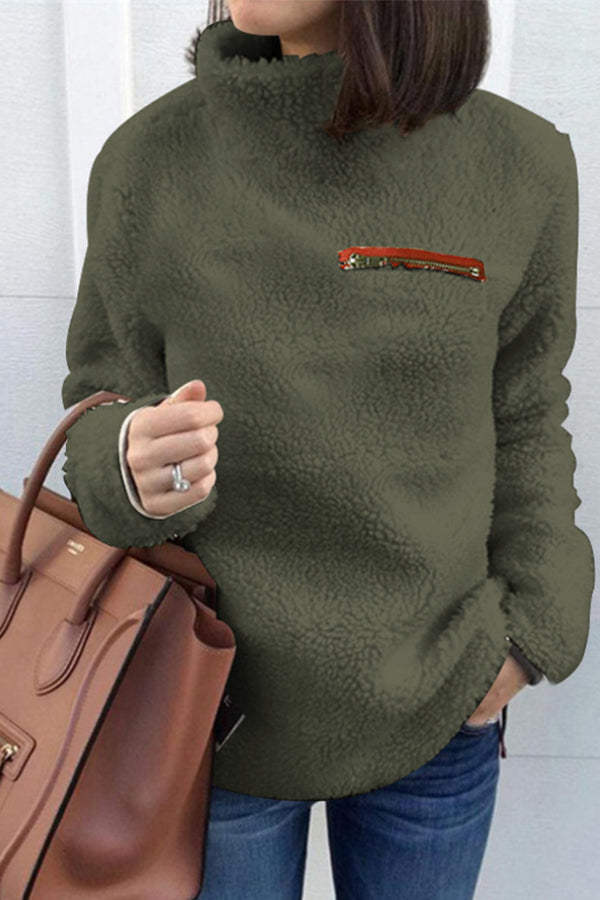Zipper Pocket Solid Color Casual Fleece