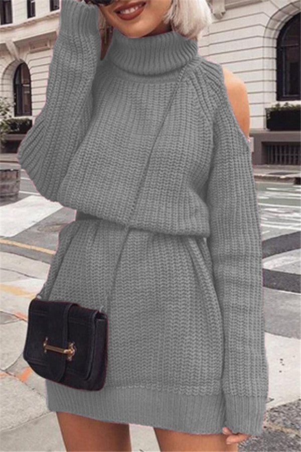 Cold Shoulder Long Sleeve Sweater Dress
