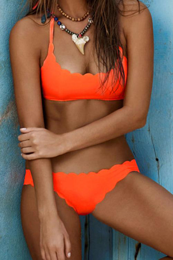 Solid Color Shell Edge Bright Summer Bikini