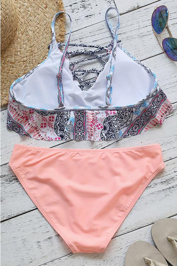 Lace-up Printing Pretty Ruffled Bikini