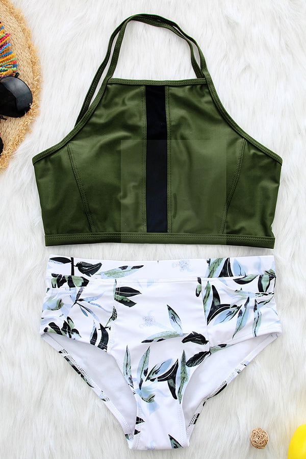Printing High Waist Sleeveless Casual Bikini