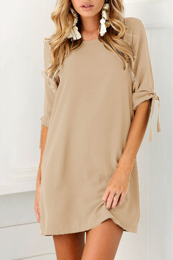 Solid Color Half Sleeve Round Neck Mini Dress
