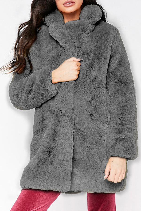 Fur Plus Size Solid Color Casual Winter Coat