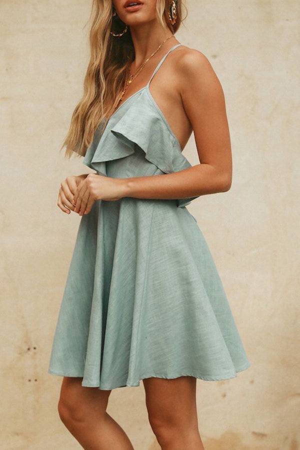 V-Neck Ruffle Solid Color High Waist Mini Dress