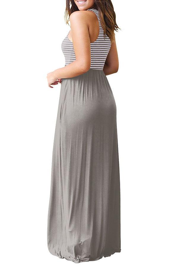 Sleeveless Stripe Pleated Pocket Dress