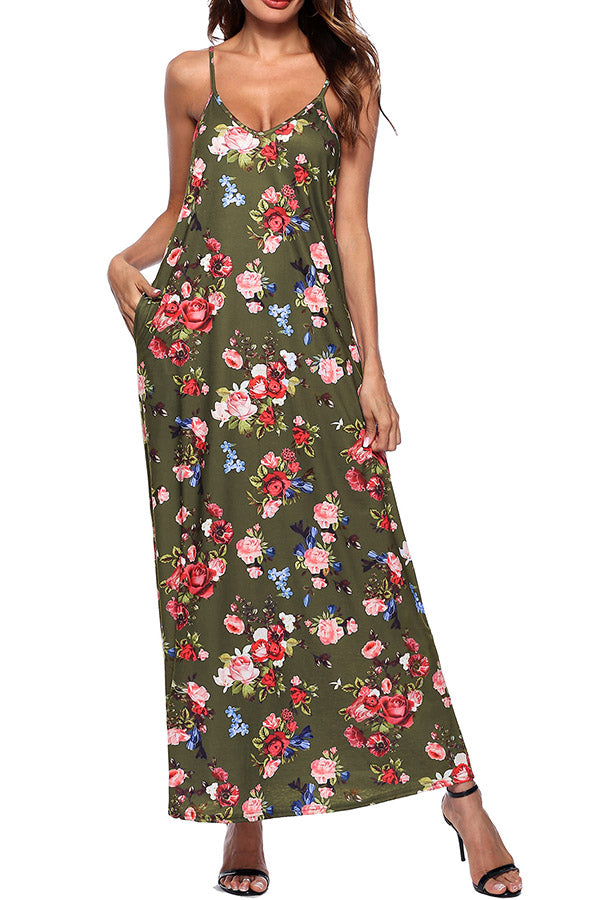 Sleeveless V Neck Printed Pocket Dress
