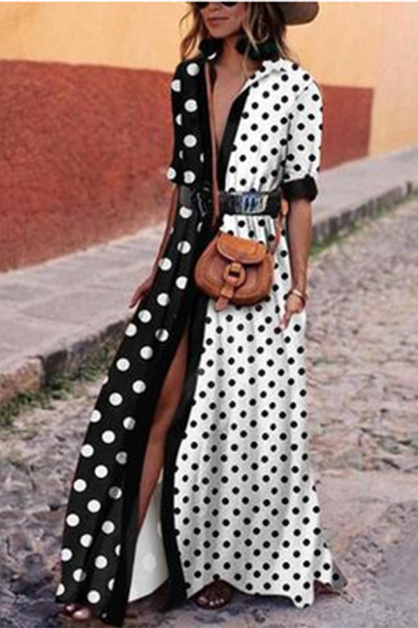 Polka Dot Printed Turndown Collar Patchwork Maxi Dress