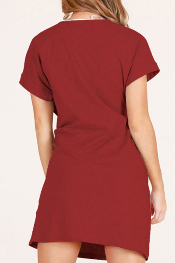 Short Sleeve Solid Color Mini Dress