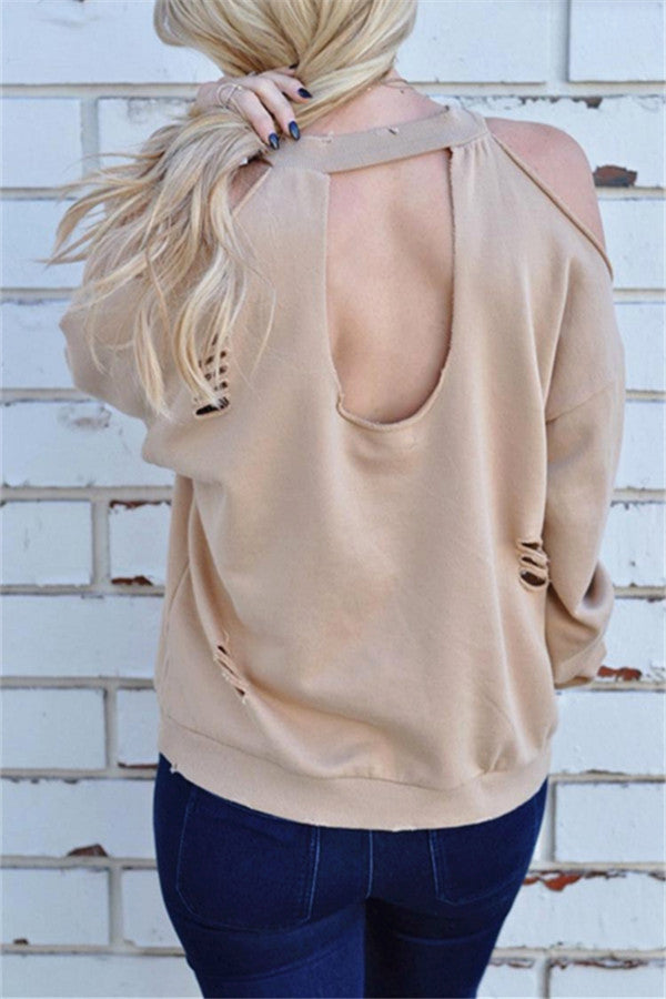 Long Sleeve Cold Shoulder Round Neck T-Shirt