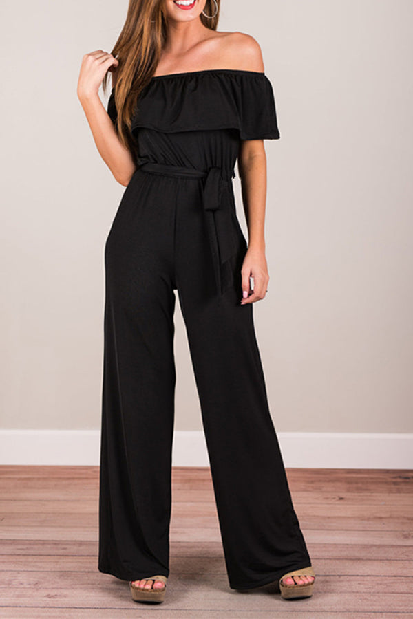 Off The Shoulder Solid Color Ruffle Jumpsuit