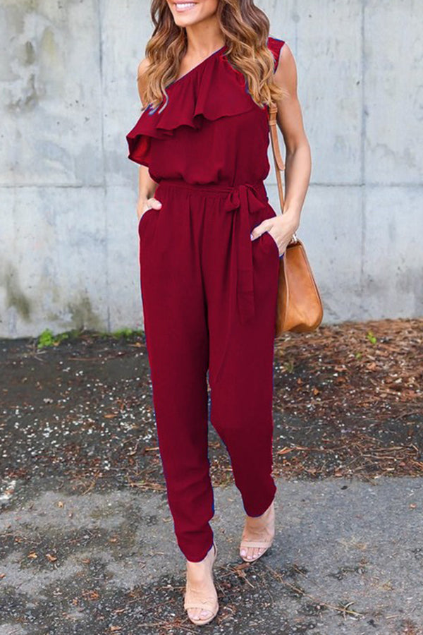 Solid Ruffle Off One Shoulder Casual Jumpsuit