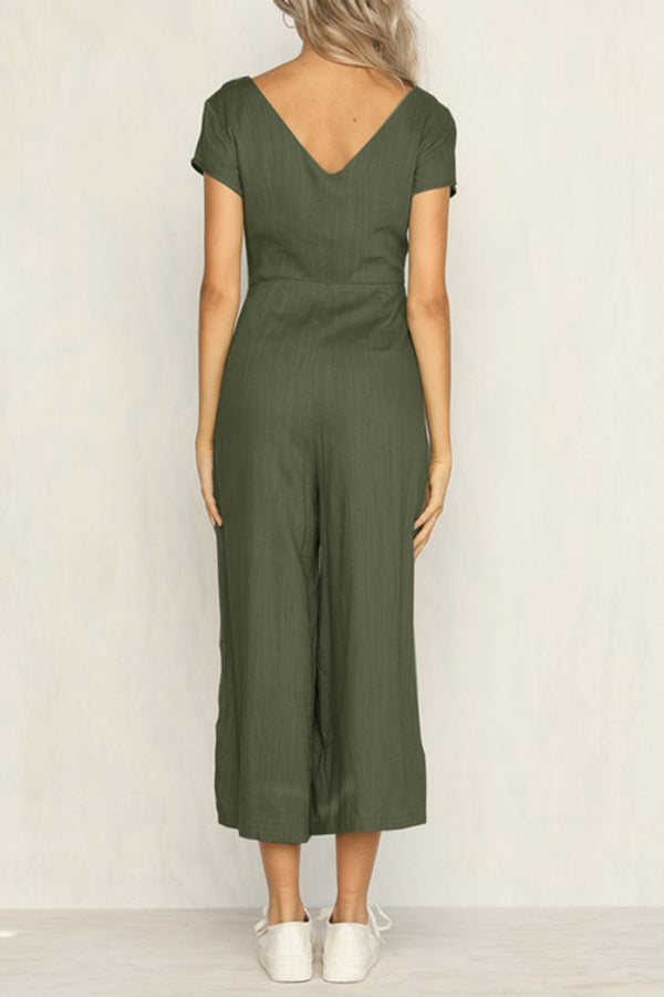 Fashion Loose Short Sleeve Solid Color Jumpsuit