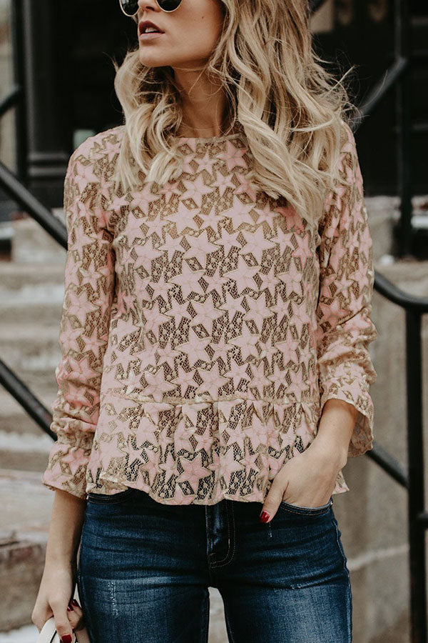 Solid Color Long Sleeve Lace Pierced Top