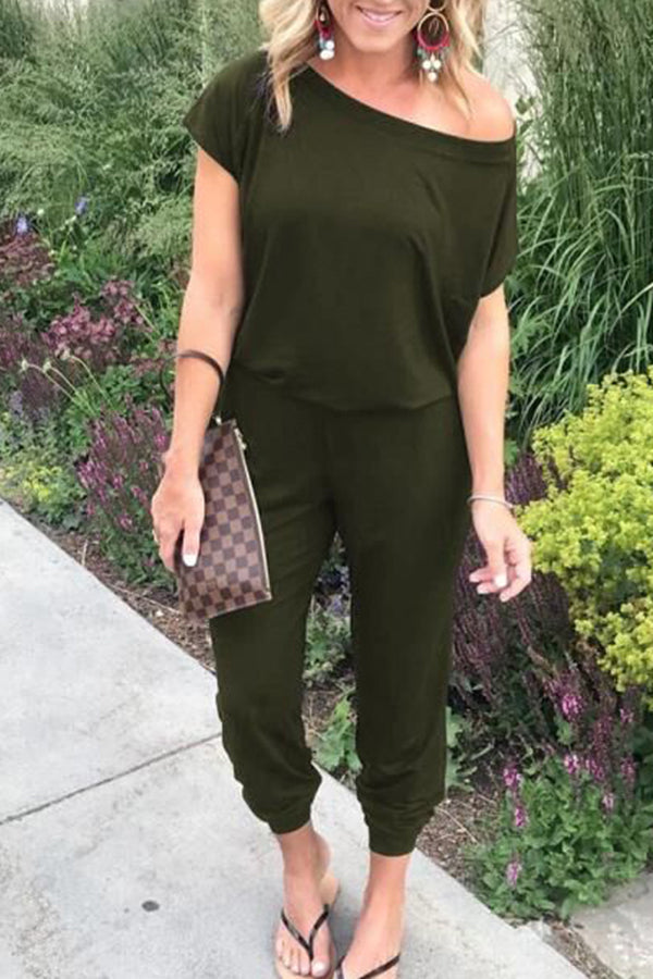 Skew Neck Short Sleeve Solid Color Jumpsuit