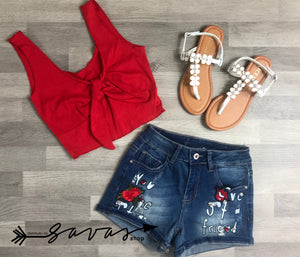 Shorts jeans con stampe