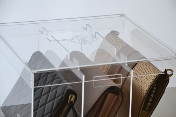 Display Case Model A-Multi designed for Small Purses, Wallets, & Wallet on Chains (WOC)