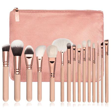 Makeup Brushes - 15 Pcs Makeup Brush Set + Leather Case