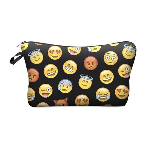 Travel Makeup Bag - Cosmetic Case - Emoji Block