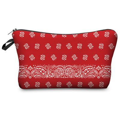 Travel Makeup Bag - Cosmetic Case - Bandana Red