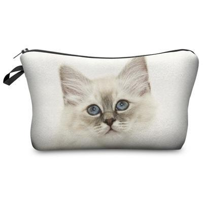 Travel Makeup Bag - Cosmetic Case - Sad Kitty