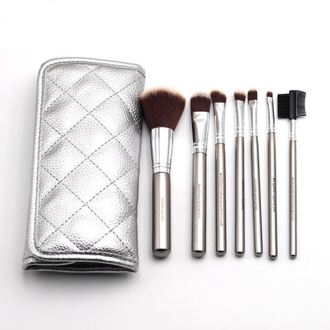 Makeup Brushes - 7 Pcs Silver Plated Bamboo Handle Makeup Brush Set