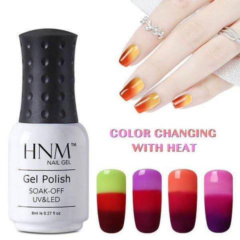 Nails - Semi Permanent Soak Off Nail Gel Polish - HNM UV & LED  Chameleon Mood Color Changing Nail Polish