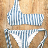 One Shoulder Striped Bikini