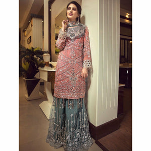 pakistani designer suit in chiffon handmade embroidered