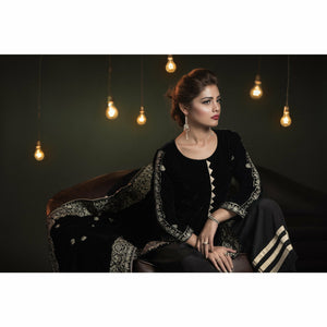 A-MEENAH Embroidered Women's Suit, Velvet Shirt, Silk Plazo, Pakistani Clothes